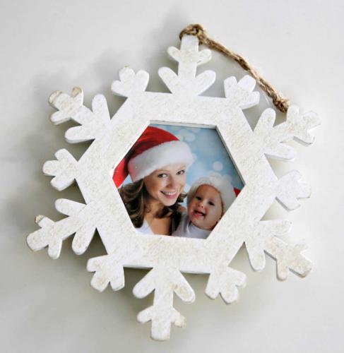 Addobbo in legno per albero di Natale - fiocco bianco da personalizzare con foto