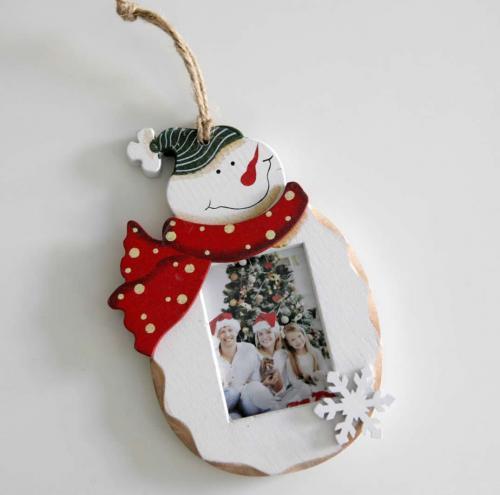 Addobbo in legno per albero di Natale - pupazzo di neve da personalizzare con foto